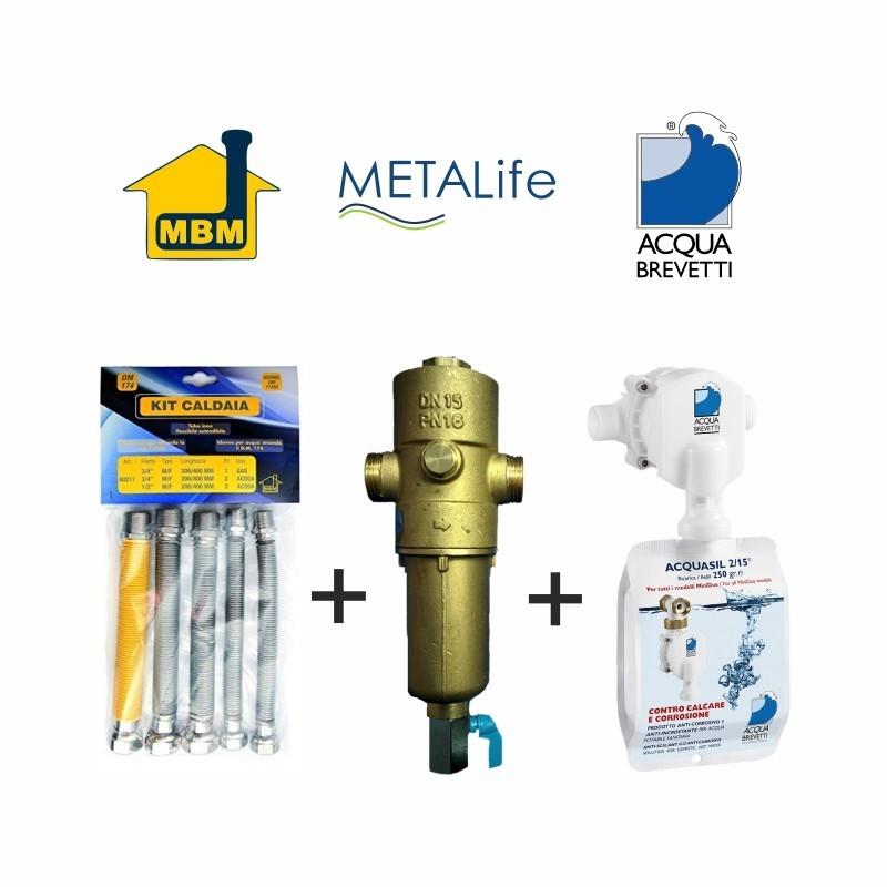 Kit installazione Caldaia Allacciamento MBM + Defangatore Magnetico METALife + Pompa Anticalcare Acqua Brevetti PM005